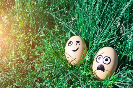Easter eggs with drawn funny faces lying in green grass. Easter concept