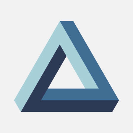 Blue Penrose Triangle on light background