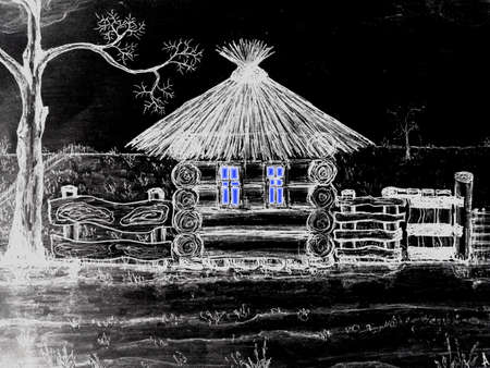 Wooden house illustration