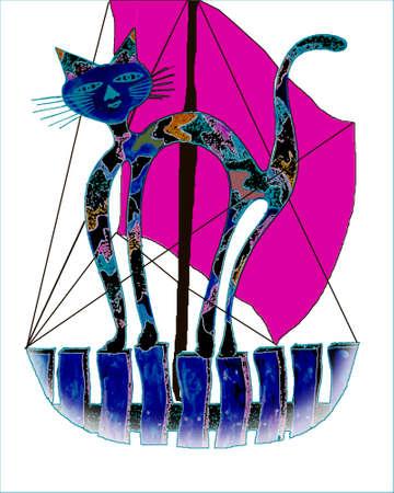 Кошка сидит в небольшой забор в лодке иллюстрации 2 Иллюстрация