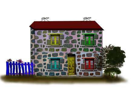 family in front of house: Fantastic houses5-Illustrations