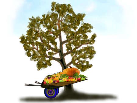 Иллюстрация - тачка на белом фоне с фруктами Иллюстрация