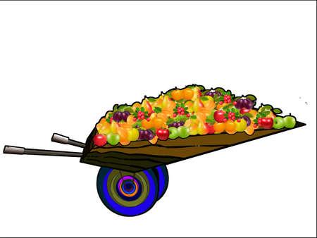 Illustration - wheelbarrow on white background with fruit