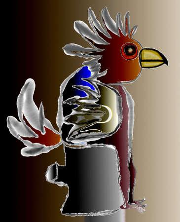 Illustration - parrot on the toilet