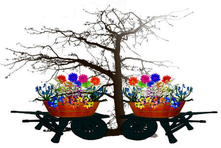 weeping willow tree: Illustration - flowerbed with flowers on tree silhouette