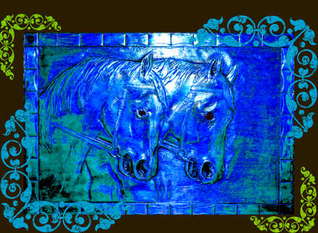 Illustration - Chinese New Year of the Horse 2014, Kalligraphie Stock Photo