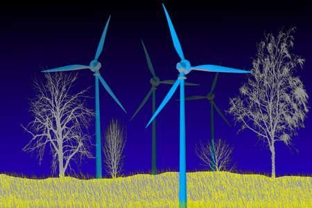 Illustration - Wind generators Vector illustration Illustration