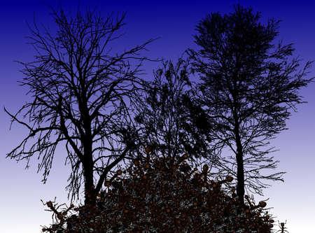 Иллюстрация - муравей под деревьями