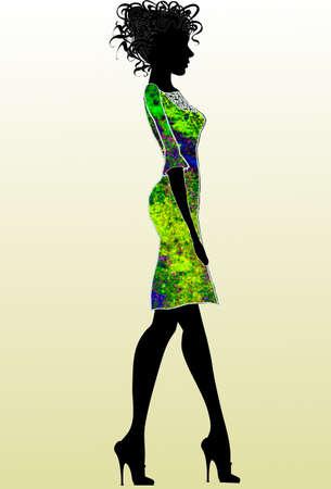 Vector - fashion, girls, silhouette, vector Illustration