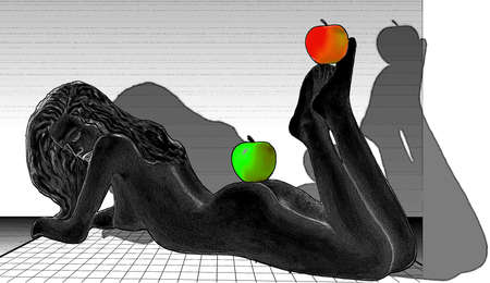 Sexy joven posando desnuda en un piso blanco con las manzanas en sus pies