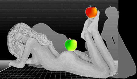 Сексуальная молодая женщина позирует обнаженная на белом полу с яблоками на ногах