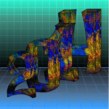 abstrakte 3D-Darstellung von Text 2014