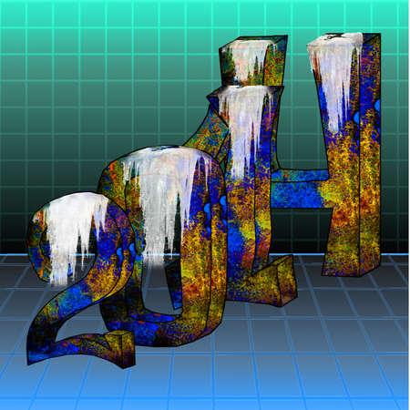 jahreswechsel: abstrakte 3D-Darstellung von Text 2014