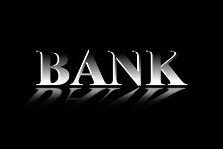 3D word BANK on a black background Illustration