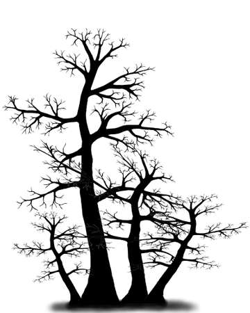 Vector - Vector tree in black and white