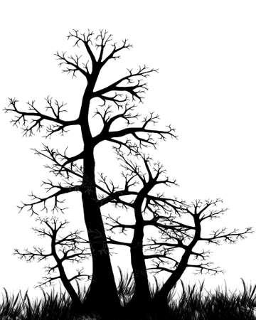 Вектор - Вектор дерево в черно-белом Иллюстрация