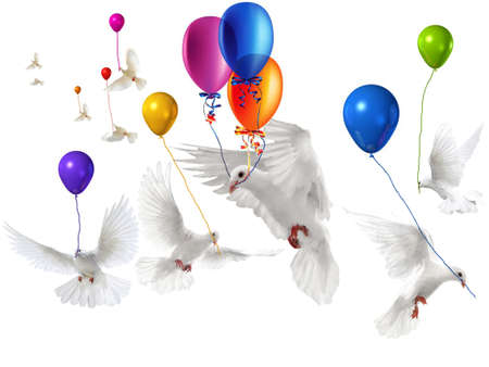 Wedding Doves with a few balloons flying on white background