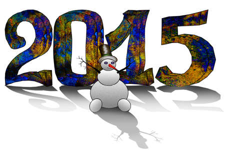 Happy New Year 2015 - greeting card with 3D figures
