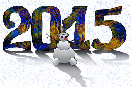 Happy New Year 2015 - greeting card with 3D figures Vector