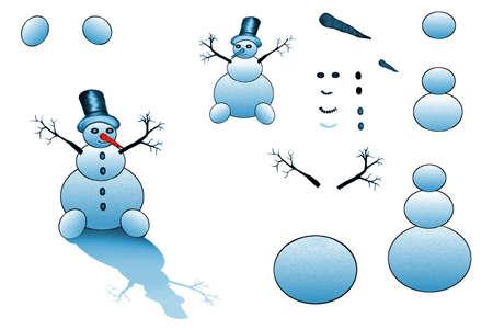 Vector - Happy Smiling Snowman with Top Hat and Carrot Nose Illusztráció