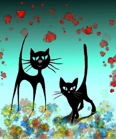 Two enamored cats Vector