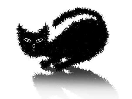 Drawing black cat on a white background Vector