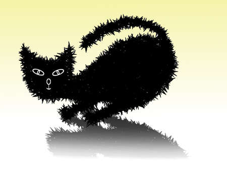 Drawing black cat on yellow background Vector