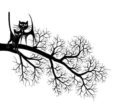 enamored: Two enamored cats Illustration