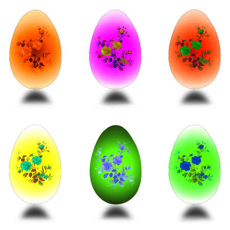 Set of colorful easter eggs-vector