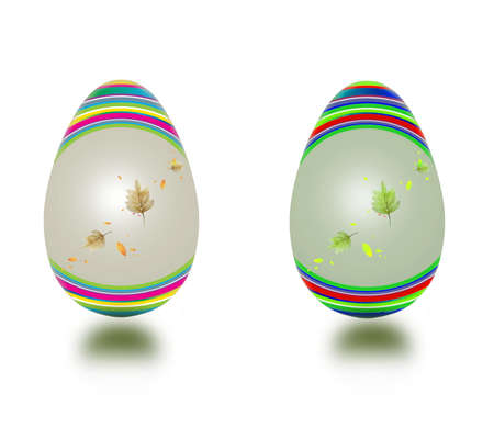 Vector Easter eggs with floral decorations