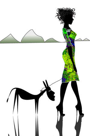 humble: humble donkey and beautiful girls-vector
