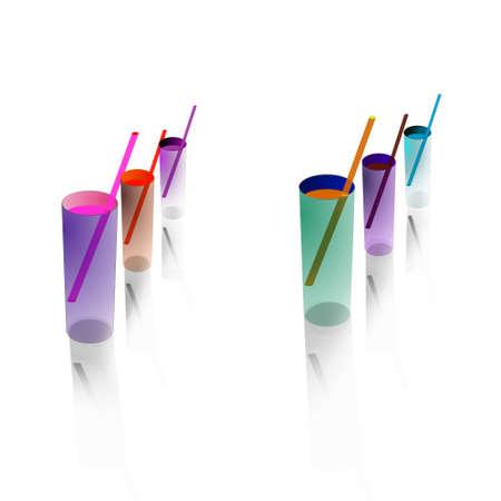 6 Cocktails against white background. Element for design vector illustration