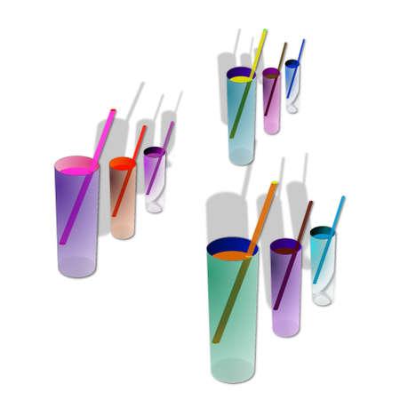 resfriado comun: 9 c�cteles contra el fondo blanco. Elemento para el dise�o ilustraci�n vectorial