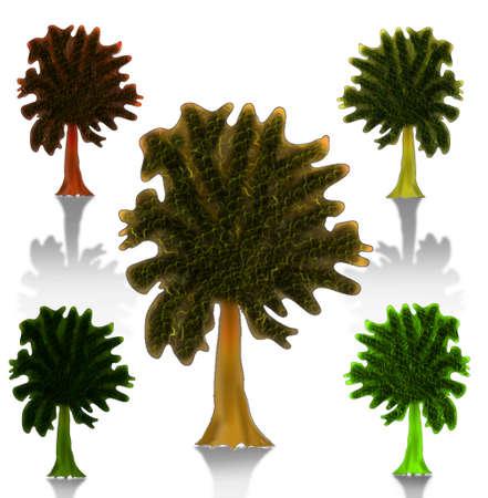 Vector - Vector tree silhouette, flowers