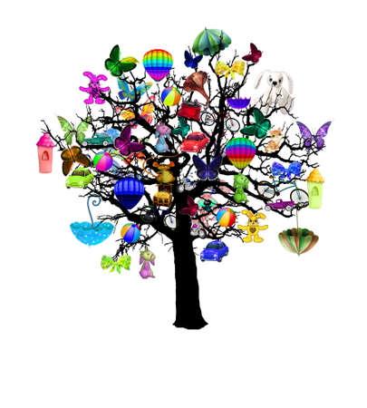 holiday: Vector - Happy holiday, funny tree with baloons