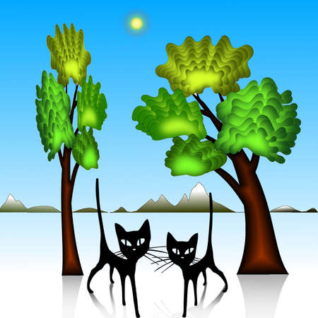 buzzer: Vector - silhouette of a tree and two cats