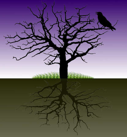 buzzer: Vector-silhouette of a tree with the raven and the root