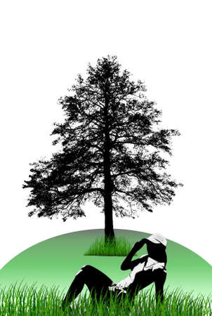 pine boughs: Illustration silhouettes of trees and girls