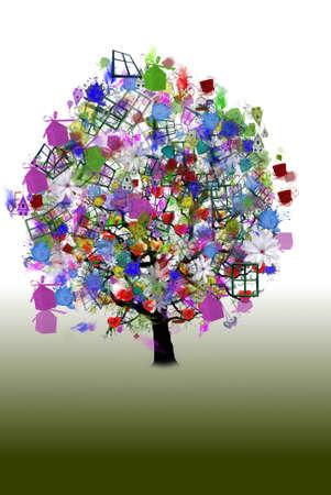 holiday: Vector - Happy holiday, funny tree
