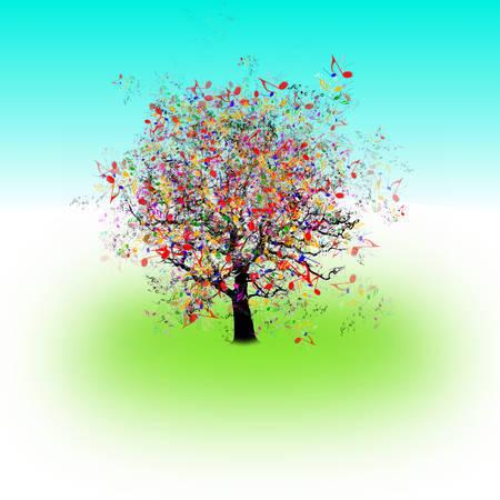 Вектор - С праздником, смешные дерево Иллюстрация