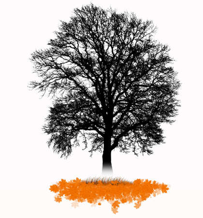 Vector - Silhouette of a tree with falling leaves
