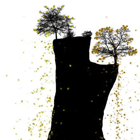 genealogical: Vector silhouette of a tree on a cliff with falling leaves