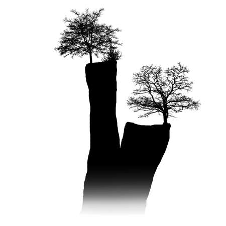 Vector silhouette of a tree on a cliff in the fog