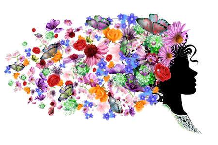 Вектор - Цветочные головки силуэт Иллюстрация
