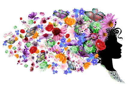 Vector - Floral hoofd silhouet Stockfoto - 38638336