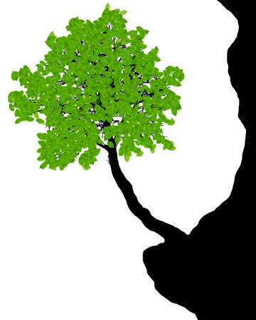 buzzer: tree on the cliff - vector