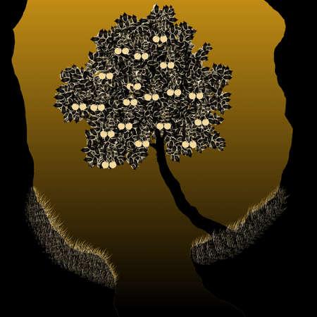 Силуэт вишневого дерева с ягодами на коричневом фоне Иллюстрация