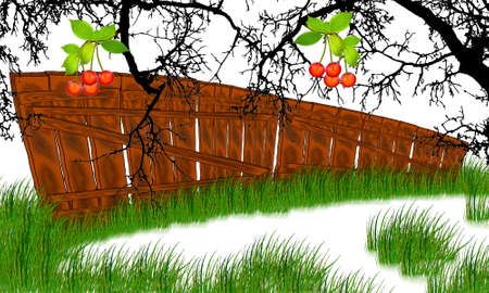 picket: vector cherry tree and picket fence