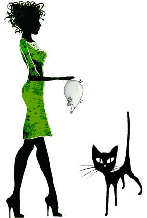 Girls cat and mouse Ilustrace