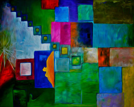 kandinsky: Colorful abstract oil painting